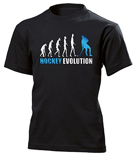 Hockey Evolution 618 Kinder T-Shirt (K-SW-Weiss-Blau) Gr.152 (Blau Jersey Puck)