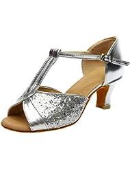 Alaso - Zapatos de tacón bajo para mujer, estilo rumba Waltz Prom Ballroom Fiesta Latin Tango, baile de salsa, sandalias de baile, zapatos de tacón