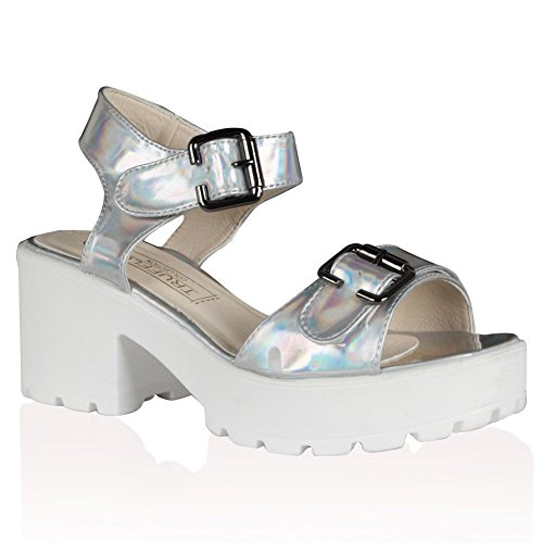 Mesdames Mid Sangle Cheville Talons Hauts Fête bretelles femmes Summer Sandales Chaussures Taille Rose - Pink Holographic Buckle Cleated Sandals