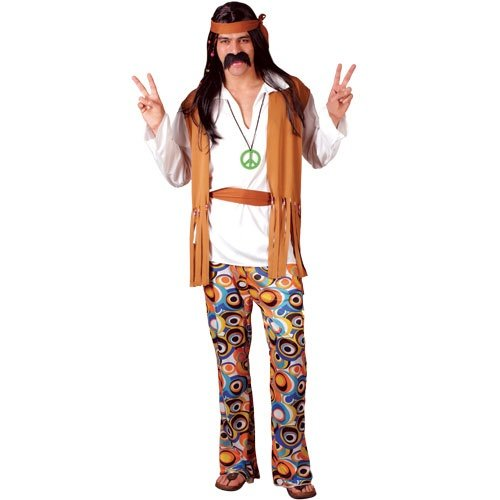Adult Woodstock Hippie Man Fancy Dress in 4 sizes.