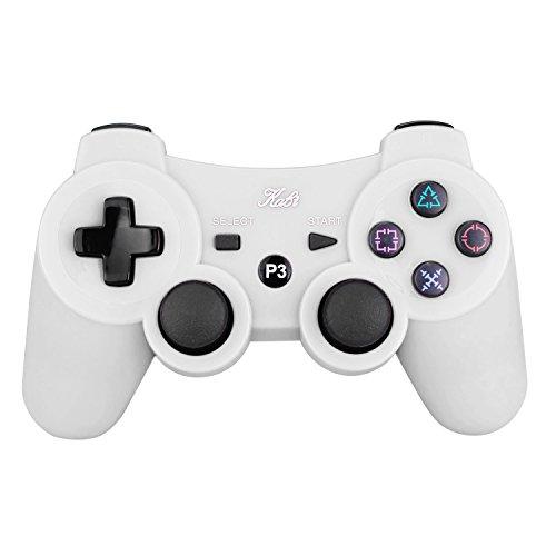 Kabi Wireless Bluetooth Game Romote Controller mit 6-AXIS Double Shock Bonus kostenloses Ladekabel für ps3 PlayStation 3 Controller( (Neue Version) (Weiß) (Bluetooth-game-controller Ps3)