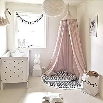 Tianu Prinzessin Baumwolle Leinen Kuppel Moskitonetz, Bett Baldachin, Insektennetz Schutz-Für Kinder Zimmer Urlaub Indoor-1PCS, 240cm rose