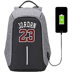 Lorh's store Estilo Simple Jugador de Baloncesto Estrella Michael Jordan antirrobo Multifuncional Mochila fanáticos de Viaje Mochila Escolar para Hombres Mujeres (Estilo Simple)