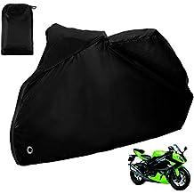 Zacro Funda para Moto /Cubierta de la Moto 190T Impermeable Cubierta Protectora UV los Agujeros del Acero Inoxidable al Aire Libre Con el Bolso del Almacenaje (Negro)
