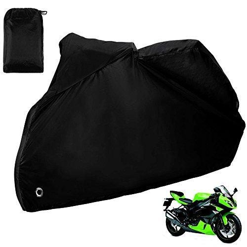 Zacro Funda para Moto / Cubierta de la Moto 190T Impermeable Cubierta Protectora UV los Agujeros del Acero Inoxidable al Aire Libre con el Bolso del Almacenaje (Negro)