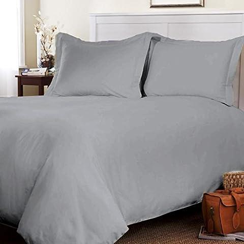 Parure de lit en 100 % flanelle ultra douce, teinture naturelle Toutes les tailles disponibles, 100 % coton, gris, Double