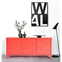 Heavy Duty Large Steel Storage Cabinet, Metal Office Storage Cupboard Locker Cabinet, 2 levels Open Storage Shelves with 3 doors for Home Office Study Bedroom Living room,(Red, 120 cm ×40cm×58cm)