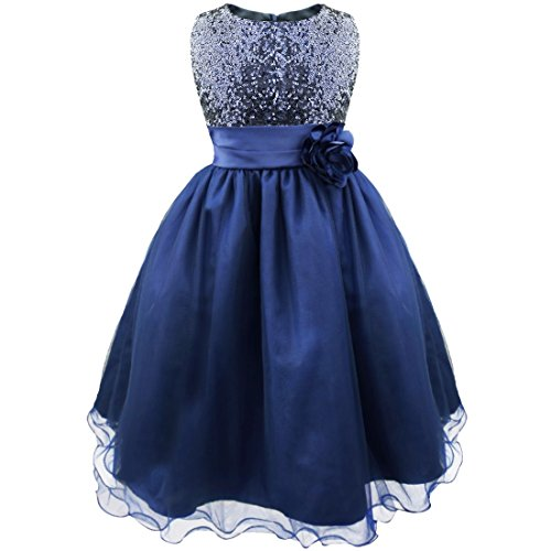 iEFiEL 10 Color Girls Child Sequined Wedding Party Bridesmaid Kids Sundress Princess Flower Dress Navy Blue 7 Years