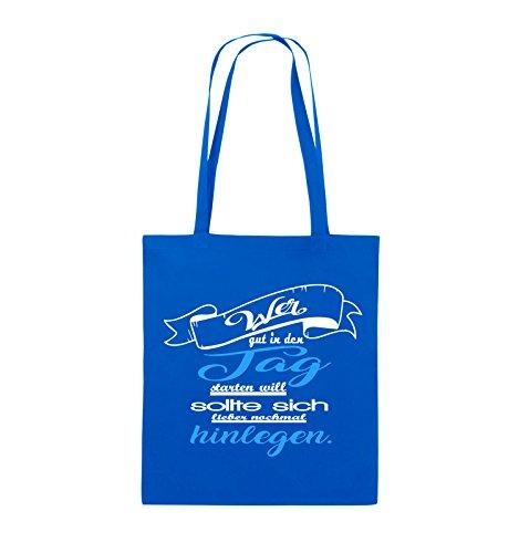 Comedy Bags - Wer gut in den Tag starten will sollte sich lieber nochmal hinlegen - Jutebeutel - lange Henkel - 38x42cm - Farbe: Schwarz / Weiss-Neongrün Royalblau / Weiss-Hellblau