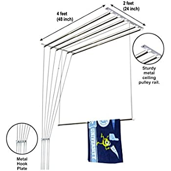 Homwell Deluxe Heavy Duty Stainless Steel (6 Pipe X 4 Feet) Ceiling Cloth Hanger/Ceiling Cloth Dryer