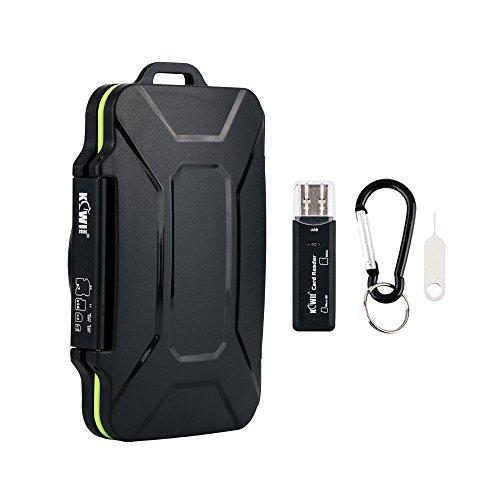 Kiwifotos 27 Slots Stabil und Steif Memory Card Case mit USB3.0 Card Reader, Karabiner und SIM-Karte Werkzeug zum Entfernen (Passt für 7 x SD, 16 x Micro SD, 2 x Makro SIM, 2 x Nano SIM Karten) (Nano Sim Case)
