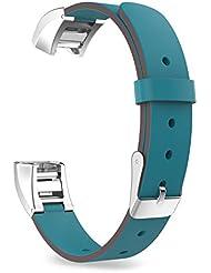 MoKo Fitbit Alta / Alta HR Correa - Reemplazo SmartWatch Band de Reloj Cuero Auténtico Imitado Pulsera Accesorios para Fitbit Alta / Alta HR Smart Fitness Tracker, Azul Eléctrico