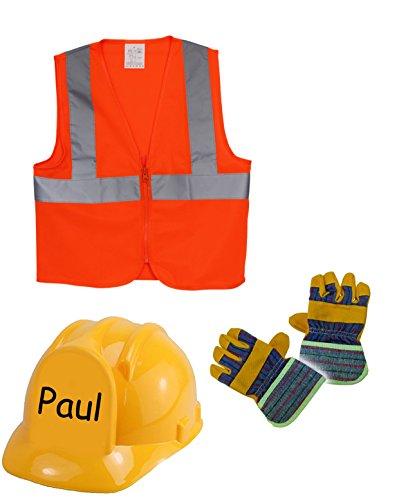 Bauarbeiter-Set, Helm, Handschuhe und Weste, Kindergröße, personisierbar, Mottoparty, Rollenspiel, Kostüm (mit Namen)