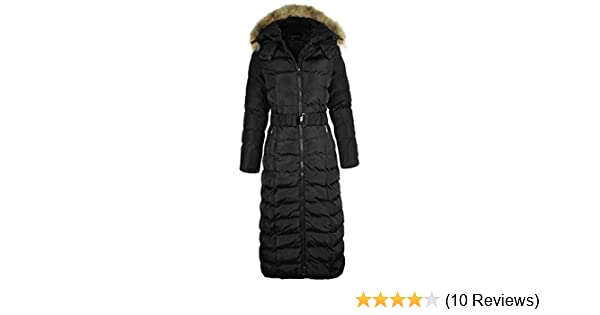 f8b1d2475cf7 Fashion Thirsty LADIES WOMENS LONG BODY FULL LENGTH PADDED QUILTED PUFFER  JACKET WINTER COAT (M - UK 10