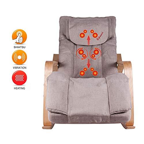 Rikmani Massage-Sessel für zuhause, Shiatsu Relax-Sessel, Schaukelstuhl, elektrisch, mit Massage- und Wärmefunktion, Farbe: Beige -