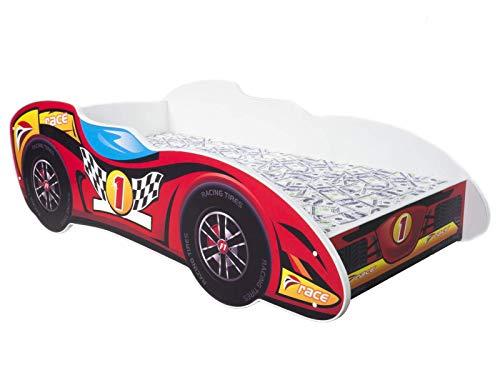 Kinderbett mit Absturzsicherung und Lattenrost | Auto Bett F1 - TOP CAR | 140 x 70 cm *MATRATZE GHRATIS* 10 Designs |