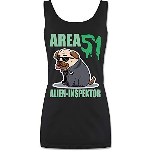 Nerds & Geeks - Area 51 Alien Inspektor Mops - S - Schwarz - P72 - Tanktop für Damen und Frauen Tops (Ideen Für Ein Kostüm Nerd)