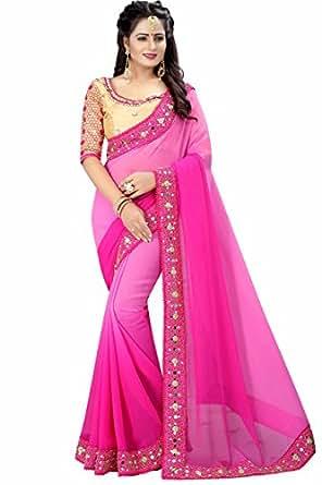 Bansi Tex Women's Georgette Pink Saree_Free Size