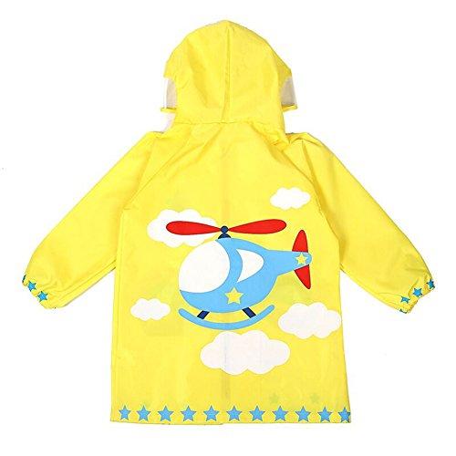 Outerwear impermeabile con cappuccio in cartone animato per i bambini e ragazzi aereo yollow/s