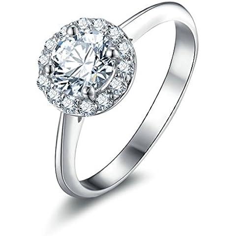 (Personalizzati Anelli)Adisaer Anelli Donna Argento 925 Anello Fidanzamento Incisione Gratuita Rotondo Singola Anello Diamante Fiori