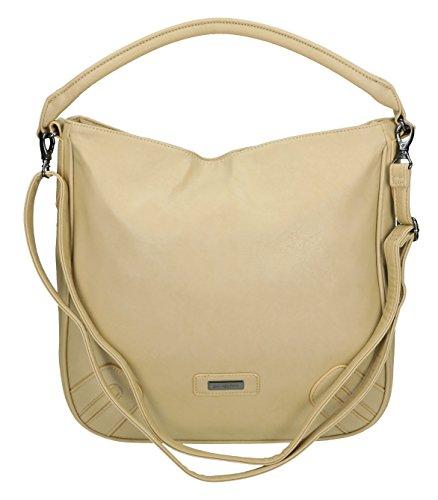 Handtasche Schultertasche Umhängetasche mit Reißverschluss, Schulterriemen und Henkel Farbe schwarz helltaupe