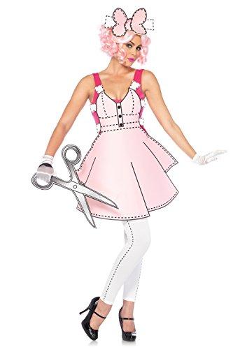 Kostüm Dolls Paper - Leg Avenue 85569 -  Kostüm Set Hübsches Paper Doll, rosa/weiß, S