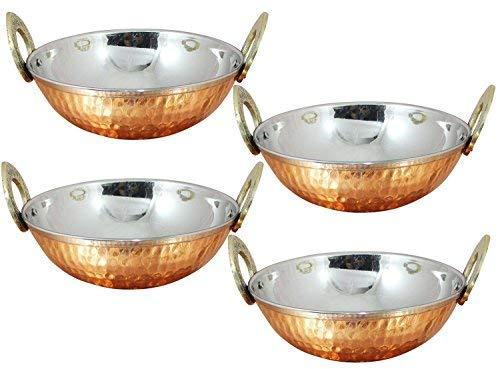 Avs Stores®, indisches Karahi-Kupfer-Serviergeschirr, Schüsseln für Gemüse/Abendessen, mit massivem Messing-Griff, für indische Speisen, Durchmesser 13cm, 4er-Set