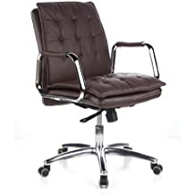 Hjh OFFICE 600934 Chaise De Bureau Fauteuil Direction VILLA 10 Marron En Cuir Veritable