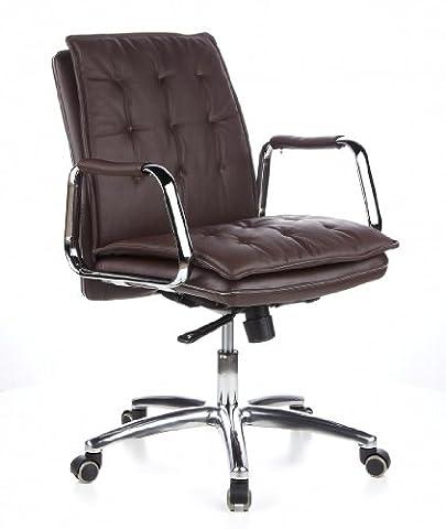 hjh OFFICE 600934 chaise de bureau, fauteuil de direction VILLA 10 marron en cuir véritable avec accoudoirs, rembourrage épais doublé au motif piqué, dossier inclinable, pied en alu, garantie 4 ans