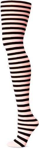 Leg Avenue 7100 - Blickdichte Ringel-Strümpfhose Kostüm Damen Karneval, Einheitsgröße, schwarz/pink (Hand Bh Kostüm)