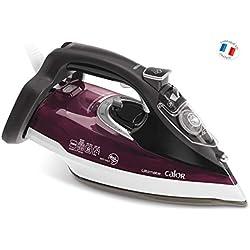 Calor FV9740C0 Fer à Repasser Vapeur Ultimate Anti-Calc Effet Pressing jusqu'à 230g/min Semelle Auto-nettoyante Collecteur de Calcaire 2800W Noir et Bordeaux