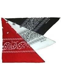 Lot de 3 foulard bandana américain tour de cou paisley USA - Rouge + noir + blanc - Country cowboy moto hip hop outdoor