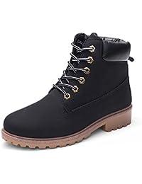 Femmes Chaussures,Sonnena Bottes Femme Automne Hiver Bottines Courtes  Cuir Bottines Plates Fourrées Boots Chaussure… d7336e485be9