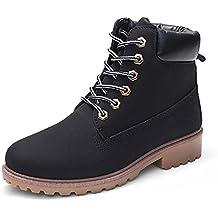 10c85f80c03e4 Femmes Chaussures,Sonnena Bottes Femme Automne Hiver Bottines Courtes Cuir  Bottines Plates Fourrées