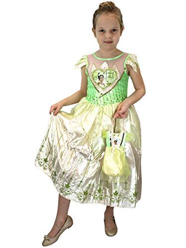 Disney Mädchen Tiana Kostüm Kleid und Tasche Grün 116 (Disney Prinzessin Frosch Kostüm)