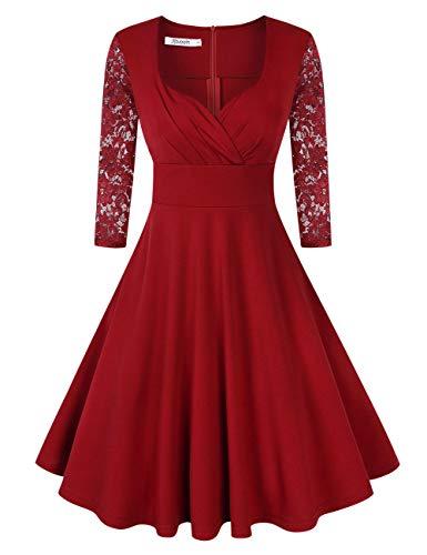 KOJOOIN Damen 50er Vintage Kleid Retro/Cocktailkleid/Abendkleid/Ballkleid Rockabilly V-Ausschnitt Kleid Knielang Langarm Bordeaux Weinrot XXL