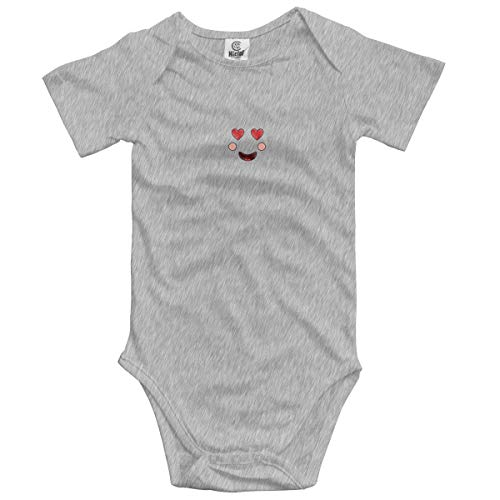 Unisex Baby Cute Short-Sleeve Onesies Bodysuit Face Expression Facial Gesture Cartoon Vector Illustration for Boys Girls 0-24M