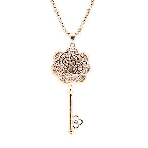 Demarkt 1 Pcs Femme Collier en alliage Élégant Fleurs Motif clé Pendentif pour Filles anniversaire Mariage Chandail Cadeau Chaîne Bijoux Necklace (Blanc) Demarkt
