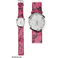 Flutterby Round Diamante Encrusted Faced Ladies Watch with Pink and Black Snakeskin Pattern Strap
