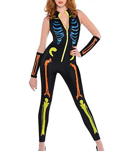 Famesale Frauen Halloween Horror Make-up Party Kostüm Reißverschluss ärmellose Overall Farbe Skelett ()