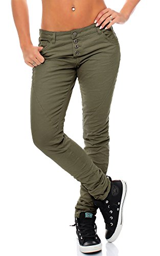 Urban Surface Damen Chino Hose LUS-073 Slim Leg middle green L