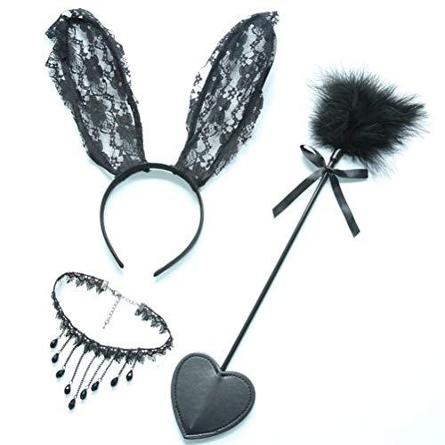 cosplay set bunny kaninchen ohren stirnband leder slapper schwarzer spitze halskette choker rollenspiel kostüm (schwarz) ()