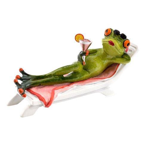 Deko Frosch auf Liegestuhl, Dekofigur Frosch Urlaub, hellgrün, Höhe ca. 8,5cm