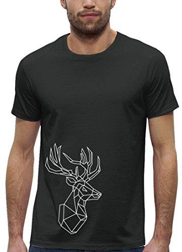 Polygon Premium Herren T-Shirt aus Bio Baumwolle mit Hirsch Tattoo Motiv der Marke Stanley Stella Anthrazite