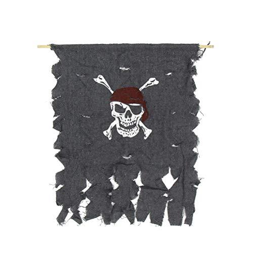 Yuloen Home Urlaub Dekorationen Piraten Schädel Flagge Halloween Rolle Spielen Zubehör gruselig Home Spukhaus Dekoration Halloween Dekoration Ideen