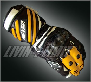 4LIMIT Sports gants moto SPIDER en cuir jaune-noir