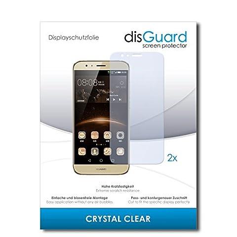 2 x disGuard Crystal Clear Film protecteur d'écran pour Huawei G8 / G-8 - Qualité supérieure (limpide, revêtement dur adhésif, montage sans bulles)