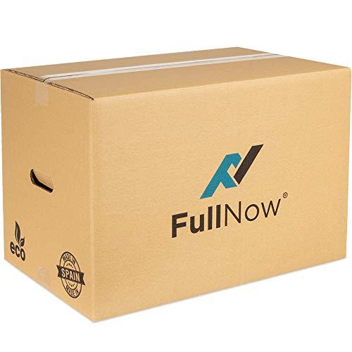 FULLNOW Pack 10 Cajas Cartón Grandes con Asas para Mudanza y Almacenaje Ultraresistentes, 550x350x380mm...