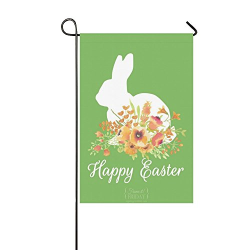 nuohaoshangmao Yard Home Outdoor Decor - Cute Rabbit Spring Easter Egg Holiday Garden Decor Flag, 12