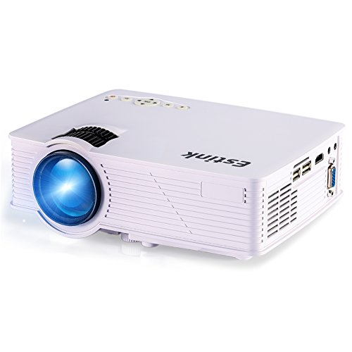 Video Proyector HD 1080P Mini Proyector LED 1200 Lúmenes 800*480 con Interfaz de HDMI VGA USB con 3W Altavoz y Gran Pantalla 120
